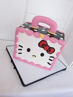We bake cupcakes every day, do custom cakes and hand-iced cookies by special order. Hello Kitty Theme Party, Hello Kitty Themes, Hello Kitty Cake, Hello Kitty Birthday, Fancy Cakes, Cute Cakes, Fondant Cake Designs, Cupcake Factory, Foundant