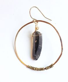 smoky quartz crystal trade bead hoop  www.zahavah.com