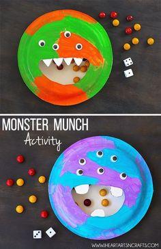 Monster Munch Activity - fun Halloween themed math idea for kids! Monster Activities, Monster Crafts, Craft Activities, Preschool Crafts, Crafts For Kids, Arts And Crafts, Halloween Activities For Toddlers, Halloween Projects, Halloween Themes