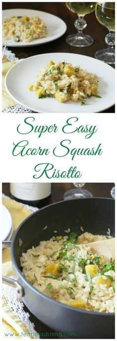 This easy acorn squash risotto recipe is a kid-friendly dinner recipe. Ready in about 30 minutes, this dinner is perfect for busy nights. Gluten free risotto recipe, acorn squash dinner recipe. via @fearlessdining