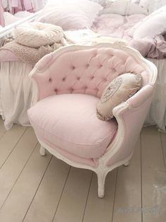 Shabby Blushed Pink- love this!!! Recover the chair in family room like this!