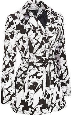 Plus Size Black Rivet Asymmetrical-Zip Fabric Trench Coat - Wilsons Leather
