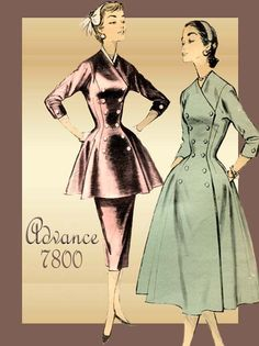 1950s Dress Pattern Advance American Designer