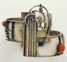 Wiener Werkstatte Cuff Bracelet  Attributed to Josef Hoffman, circa 1910, Multi leveled, of chased and hammered silver with coral accents