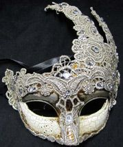 Gorgeous mask with silver and lace details