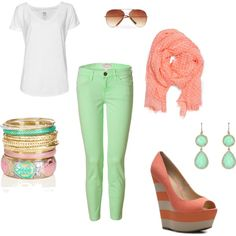 sea green and coral, created by elliedove on Polyvore. Wouldn't wear the shoes but I love the colors.