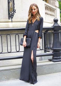 look maxi black dress cut out
