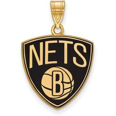 Gold Plated Sterling Silver NBA Brooklyn Nets Large Enamel Pendant by... ($72) ❤ liked on Polyvore featuring jewelry, pendants, pendant jewelry, gold plated pendants, gold plated jewelry, sterling silver charms pendants and enamel pendant