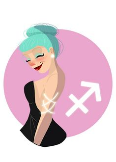 Sagittarius star sign character illustration