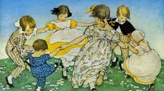Buyenlarge 'Girls in Circle - Ring Around the Rosie' by Jesse Willcox Smith Painting Print Size: H x W Painting Prints, Canvas Prints, Art Prints, Canvas Art, Nursery Rhymes, Nursery Art, Girl Nursery, Cool Eyes, Dark Side