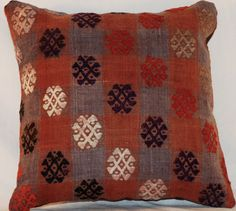 Vintage 15'' Square Wool Handmade knotted Kilim Pillow - Bohemian Cushion by SanFranciscoKilims on Etsy https://www.etsy.com/listing/250372559/vintage-15-square-wool-handmade-knotted