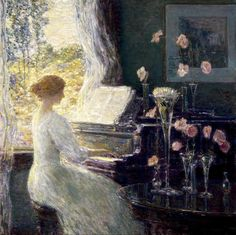 """The Sonata"" by Frederick Childe Hassam American Impressionist painter. Kunsthistorisches Museum, Piano Art, American Impressionism, Google Art Project, Museum Of Fine Arts, Michelangelo, American Artists, Art Google, Fresco"