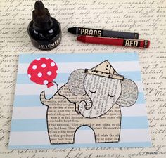 Ephemera Elephant Card Tutorial and Template ~ An easy and adorable scrap paper craft! FREE TEMPLATE!