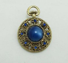 Watch Brooch Pin Rhinestones Moonstone Cabochon Blue Gold Tone