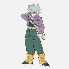 Hunter x Hunter Killua Dragon Ball Z crossover Character Poses, Character Art, Character Design, Manga Art, Anime Art, Trunks Dbz, Naruto, Dbz Characters, Anime Crossover