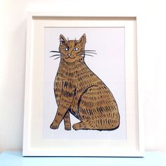 Image of Pin The Tail on the Cat for The Printed Peanut game and risograph A3 print by illustrator Louise Lockhart