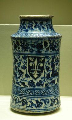 Pictured here is an Albarello, a medicinal jar with roots in the Middle East.