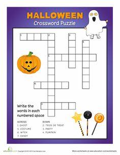 halloween crossword - 3rd Grade Halloween Worksheets