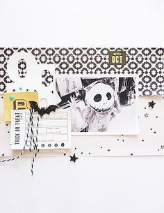 Halloween scrapbook layout using only black and white Halloween Scrapbook, Disney Scrapbook, Baby Scrapbook, Scrapbook Paper Crafts, Scrapbook Cards, Paper Crafting, Scrapbook Sketches, Scrapbooking Layouts, Layout Design