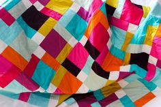 Lap quilt, solid colors quilt, throw quilt, living room decor, nursery decor, FREE SHIPPING, turquoise fuchsia, sofa quilt, modern quilt by Zarkadia on Etsy