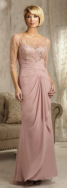 Exquisite Tulle & Chiffon Scoop Neckline Sheath Mother Of The Bride Dresses With Beadings