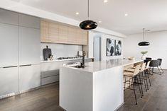 #kitchen #telethon #telethonhome #twotonecabinets #pendantlight #stonebenchtop #whitestone #glasssplashback