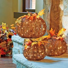 These Pre-Lit Grapevine Pumpkins are a homey, glowing way to celebrate the harvest season