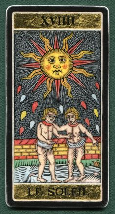 XIX. The Sun - Alexander Andreev's Silver & Gold Tarot. This card symbolizes one of the stages of the Fool's Journey towards self-discovery. The Fool stands for all of us.