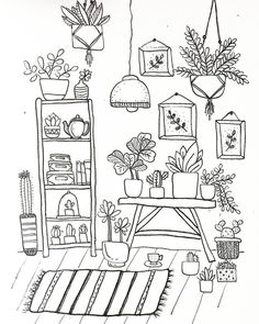 "3 🌿✏️ Views from the plant corner 🙌🏼 Some Friday planthoarder goals for you! 👍🏼"" is part of Doodle drawings - 3 🌿✏️ Views from the plant corner 🙌🏼 Some Friday planthoarder goals for you! Doodle Art, Doodle Drawings, Easy Drawings, Doodle Pages, Doodle Sketch, Bullet Journal Art, Bullet Journal Ideas Pages, Bullet Journal Inspiration, Coloring Books"