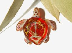 Ruby Red Turtle  Blown Glass Pendant  by CreativeFlowGlass on Etsy, $38.50