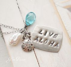 Live  Aloha  Sterling Silver Apatite Pearl by GemPassionJewelry, $45.00