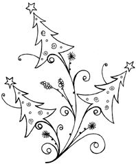 Impression Obsession Cling Mounted Rubber Stamp – Tree Flourish – My Unique Wardrobe Christmas Doodles, Christmas Drawing, Noel Christmas, Christmas Colors, All Things Christmas, Christmas Decorations, Christmas Ornaments, Whimsical Christmas, Christmas Clipart