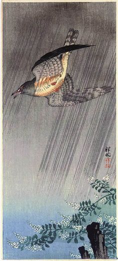 hanga gallery . . . torii gallery: Cuckoo in Rain by Ohara Koson