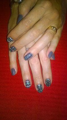 Grey, black, white and green geometric nail design