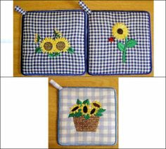 """""""Sunflowers & Potholders 6x8"""" you can bring a little sunshine into your life no matter what season it is, with these bright & cheerful sunflower designs with instructions for making pot holders!"""
