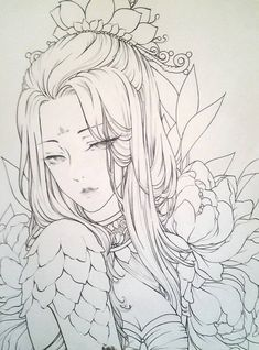 Anime Drawings Sketches, Manga Drawing, Art Drawings, Japanese Tattoo Art, Japanese Art, Colouring Pages, Coloring Books, Portrait Art, Portraits
