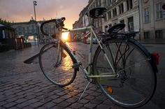 Bianchi bike in Copenhagen, at sunset A bike romance.