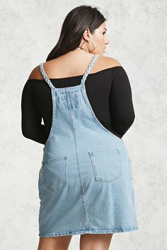 Forever 21+ - A denim overall dress featuring a bib pocket, on-seam pockets, back patch pockets, and braided straps.