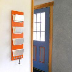PEKOE orange modern wall mount mail organization by PIGandFiSH