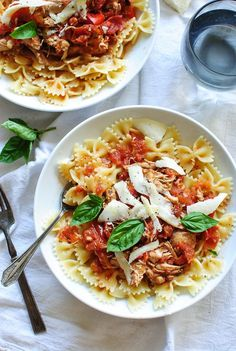 Slow Cooker Chicken and Tomatoes with Bow Tie Pasta - Bev Cooks