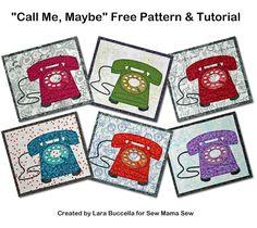 BuzzinBumble: Sew Mama Sew Free Retro Telephone Mug Rug Pattern, Crafted Appliqué #craftedapplique