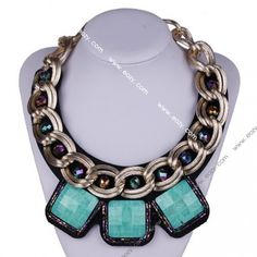 Fashion Retro Faux Collar Acrylic Crystal Flower Beads Bib Necklace