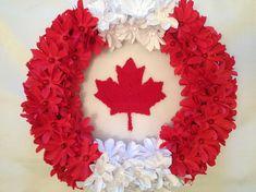 Canada Day Wreath by annacraftbasket Diy Wreath, Mesh Wreaths, Summer Wreath, 4th Of July Wreath, Diy Arts And Crafts, Crafts For Kids, Canada Leaf, Canada Day Fireworks, Canada Day Crafts