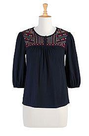 1277444dd03 Embellished Yoke Cotton Tees, Fall Boho Peasant Tops Shop women's fashion  clothing - Long Tunic Tops, Women's Tops, Fashion Tops, Plus Size Tops