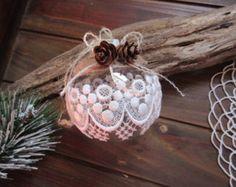 Handmade Christmas ornament,  Lace  Ornament , christmas bauble, ball ornament .