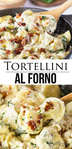 This Tortellini Al Forno recipe has cheese-filled tortellini tossed in a rich and creamy garlic cheese sauce and topped with crumbled bacon. It tastes just like Olive Garden's famous dish and is super easy to make! # pasta dishes Tortellini Al Forno Tortellini Al Forno Recipe, Cheese Tortellini Recipes, Tortellini Pasta, Easy Pasta Recipes, Easy Meals, Cooking Recipes, Healthy Recipes, Tortellini With Alfredo Sauce Recipe, Tortellini Ideas