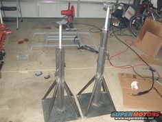 """Jack Stands by ScottMoore -- Homemade height-adjustable jack stands constructed from 3/16"""" plate, threaded rod, and square steel tubing. http://www.homemadetools.net/homemade-jack-stands-2"""