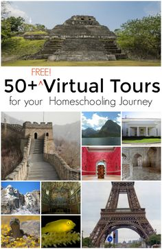 If you are needing field trip ideas for your home schooler or if you want to show your kids and students different parts of the world virtually, check out these 50 FREE virtual tours that are great for all ages! Virtual Travel, Virtual Tour, Virtual Reality, Virtual Art, Home Learning, Fun Learning, Learning Tools, Educational Activities, Learning Activities