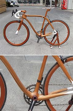 Nice wooden bike. Can you imagine what this person could do designing furniture or anything else that is actually improved by being made out of wood? Bikes do not work in wood...move on to something else!