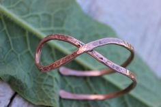 Boho Infinity Cuff Bracelet, Sterling Silver, Copper, Hammered Infinity Bracelet, Open Infinity, Hand Forged, Rustic Infinity, Organic by MountainUrsusDesigns on Etsy
